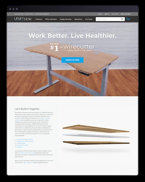 Storefront Browser Homepage Desk Build Uplift Desk