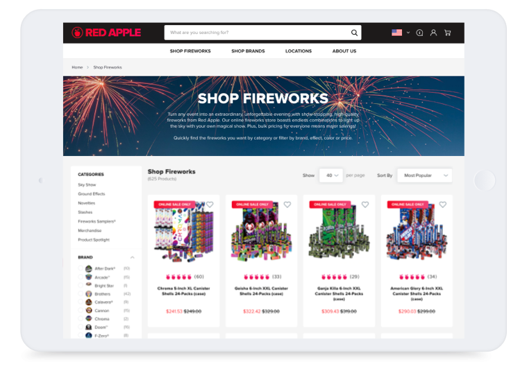 Storefront Tablet Homepage Products Fireworks Red Apple Fireworks